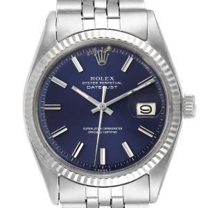 Rolex Datejust Steel White Gold Blue Dial Vintage Watch 1601