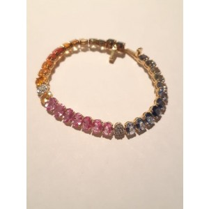 Multi-Colored Sapphire and Diamond Gold Bracelet
