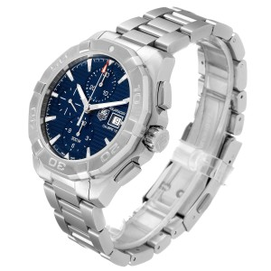 Tag Heuer Aquaracer Chronograph Blue Dial Steel Mens Watch CAY2112 Box