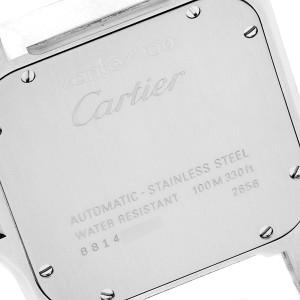 Cartier Santos 100 Black Strap Steel Mens Watch