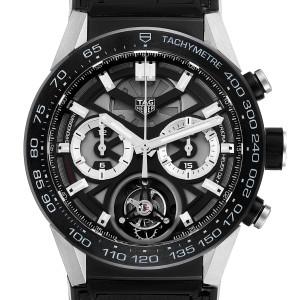 Tag Heuer Carrera Tourbillon Chronograph Titanium Mens Watch CAR5A8Y Box Card