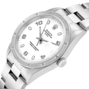 Rolex Date White Dial Engine Turned Bezel Steel Mens Watch 15210 Box