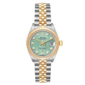 Rolex Datejust 28 Steel Yellow Gold Green Diamond Dial Ladies Watch 279173