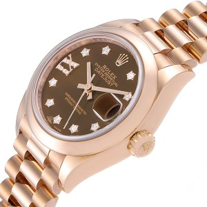 Rolex President 28 Rose Gold Chocolate Dial Ladies Watch 279165 Box Card