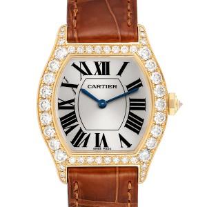 Cartier Tortue Yellow Gold Diamond Brown Strap Ladies Watch