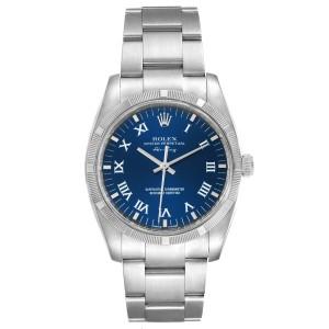 Rolex Air King Blue Roman Dial Steel Mens Watch 114210