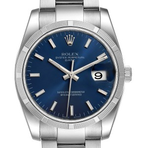 Rolex Date Steel Blue Dial Oyster Bracelet Automatic Mens Watch 115210