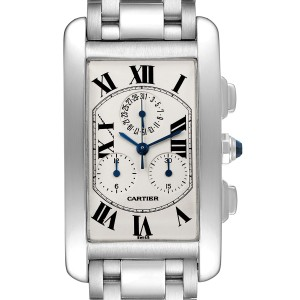 Cartier Tank Americaine Chronograph White Gold Mens Watch W26033L1