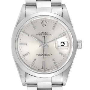 Rolex Date Silver Dial Oyster Bracelet Automatic Mens Watch 15200 Box