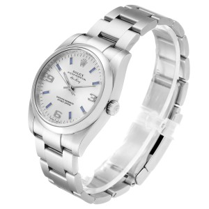 Rolex Air King Silver Dial Blue Hour Markers Steel Watch 114200