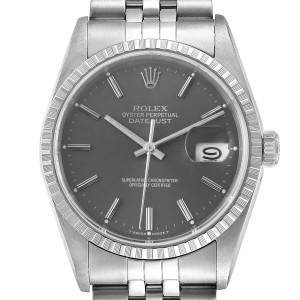 Rolex Datejust Grey Dial Jubilee Bracelet Steel Mens Watch 16220