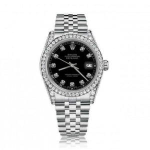 Rolex 36mm Datejust With custom Diamond bezel Black Color Dial Bezel and Lugs Deployment buckle