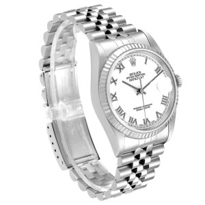 Rolex Datejust 36 Steel White Gold Fluted Bezel Mens Watch 16234