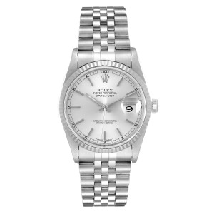 Rolex Datejust Silver Dial Fluted Bezel Steel White Gold Mens Watch 16234