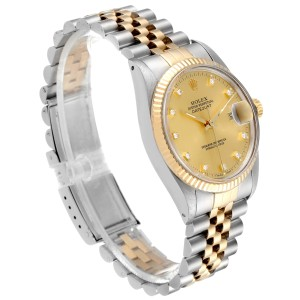 Rolex Datejust 36 Steel Yellow Gold Diamond Vintage Mens Watch 16013
