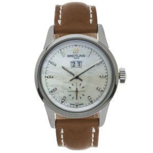 Breitling Silver Transocean Mother Of Pearl Diamond Men's Watch