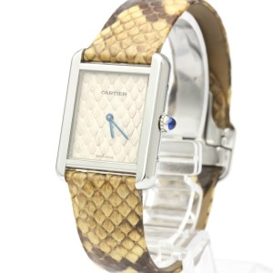 CARTIER Tank Solo Python Steel Quartz Ladies Watch W5200020 Polished