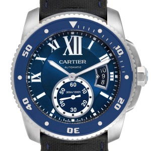 Cartier Calibre Diver Blue Dial Rubber Strap Steel Mens Watch WSCA0011 Papers