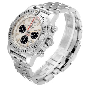 Breitling Chronomat 44 Airbourne Silver Dial Steel Mens Watch AB0115 Box