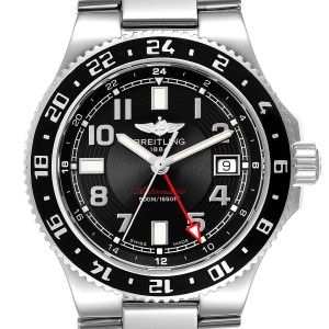 Breitling Aeromarine Superocean GMT Black Dial Mens Watch A32380