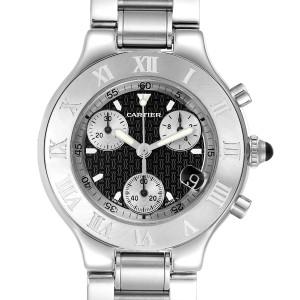 Cartier Must 21 Chronoscaph Black Dial Steel Mens Watch W10172T2
