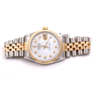 Rolex Datejust 18K Yellow Gold / Stainless Steel Mother of Pearl Diamond Dial 36mm Mens Watch
