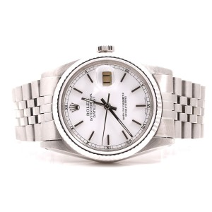 Rolex Datejust Stainless Steel Jubilee Band White Stick Marker Dial 36mm Mens Watch