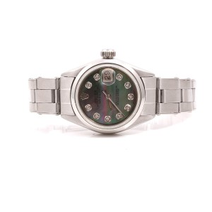 Rolex Datejust Stainless Steel Oyster Band Tahitian Diamond Dial 26mm Womens Watch