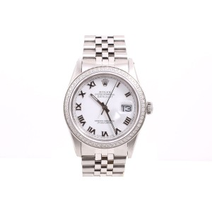 Rolex Datejust Stainless Steel White Roman Numeral Dial & Diamond Bezel 36mm Mens Watch