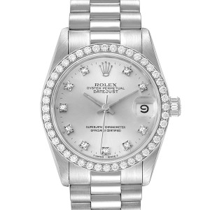 Rolex President Datejust Midsize White Gold Diamond Ladies Watch