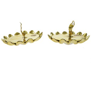 Chanel Gold Tone Hardware with Simulated Glass Pearl Flower Clip-On Earrings