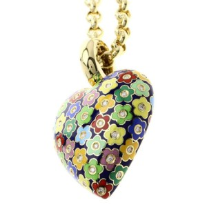 Pasquale Bruni 18K Yellow Gold with Enamel and Diamond Necklace