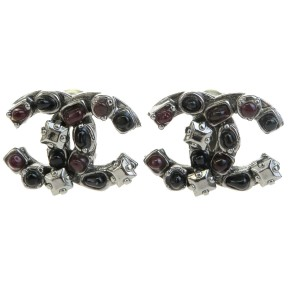 Chanel Silver Tone Hardware with Color Stone CC Earrings