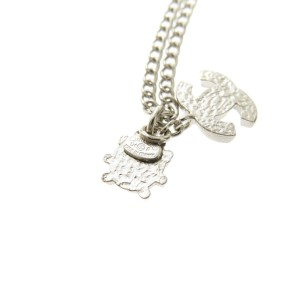Chanel Silver Tone Hardware COCO Mark Necklace
