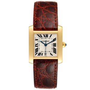 Cartier Tank Francaise Large Yellow Gold Brown Strap Mens Watch