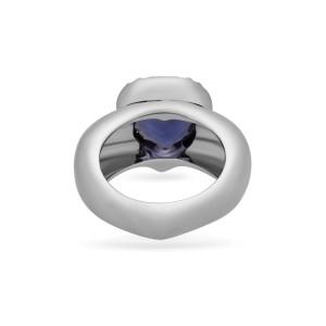 Piaget 18K White Gold Amethyst & Diamond Heart Ring Size 6
