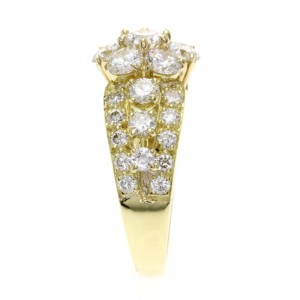 Van Cleef & Arpels 18K Yellow Gold with Diamond Snowflake Ring Size 4.25