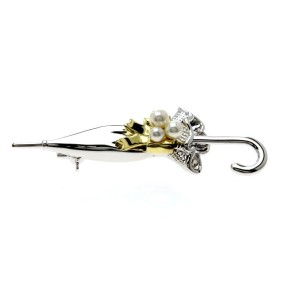 Mikimoto 18K Yellow Gold and Sterling Silver with Cultured Pearl Umbrella Brooch