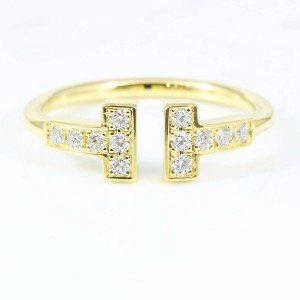 Tiffany & Co. 18K Yellow Gold Diamond Ring Size 4.75