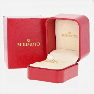 Mikimoto Akoya 18K Yellow Gold Cultured Pearl Ring Size 5.5