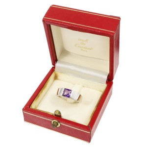 Cartier 18K 18K White Gold Amethyst Ring Size 5
