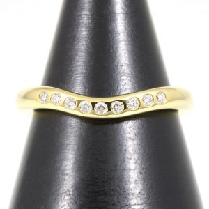 Tiffany & Co. 18K Yellow Gold Diamond Curved Ring Size 3