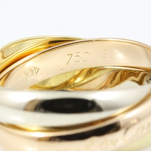 Cartier Trinity Ring 18K White, Rose and Yellow Gold Size 6.25