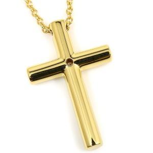 Tiffany & Co. 18K Yellow Gold Diamond Cross Pendant Necklace