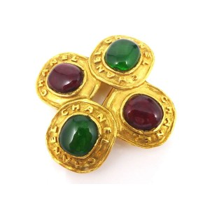 Chanel Gold Tone Colored Stone Brooch