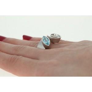 New Bastian Inverun Blue Topaz Swirl Ring Sterling Silver 8.5 Statement