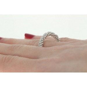 New Bastian Inverun Ring - Brushed Sterling Silver 7.5 Woven Beaded Band