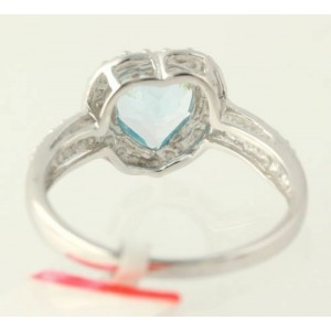 NEW Blue Topaz Heart Cocktail Ring - 925 Sterling Silver Diamond Accents 7 3/4