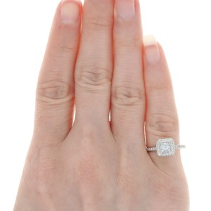 Ritani Diamond Halo Engagement Ring & Wedding Band 950 Platinum Asscher .93ctw