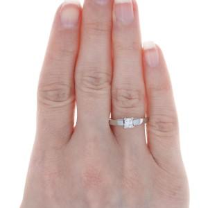 Platinum Diamond Solitaire Engagement Ring - Princess Cut .49ct Cathedral
